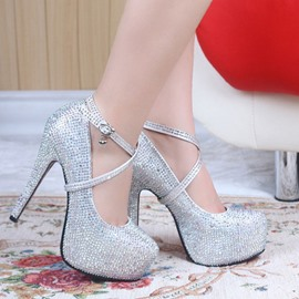 Amazing Sparkle Pearls Platform Stiletto Heels Prom Shoes