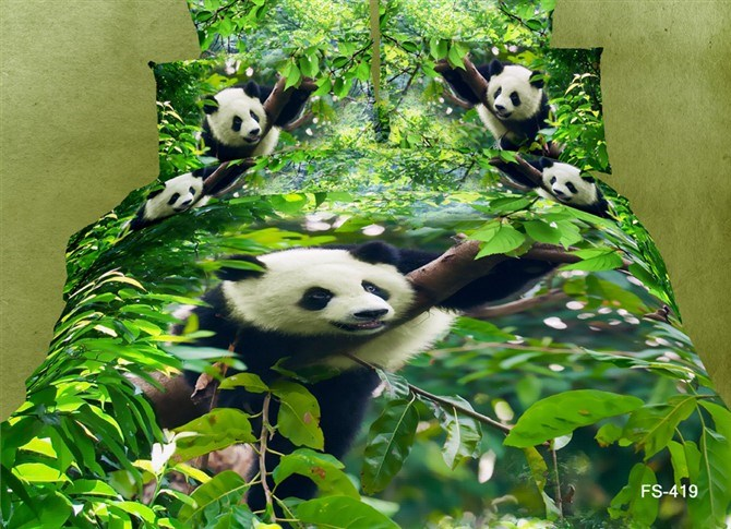 Vivilinen 3D Panda Climbing Tree Printed Cotton 4-Piece Green Bedding Sets/Duvet Covers