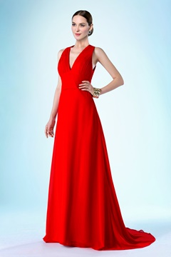 Classy V-Neckline Zipper-Up Sweep/Brush Bridesmaid Dress