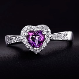 Ericdress Natural Purple Crystal Heart Ring