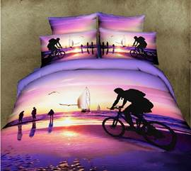 Unique Riding Bicycle on Beach Scene Print 4 Piece Bedding Sets/Duvet Cover Sets