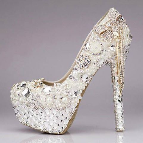 Luxury Sparkling Crystal Rhinestone Tassels Platform Ultra High Heels Wedding Shoes