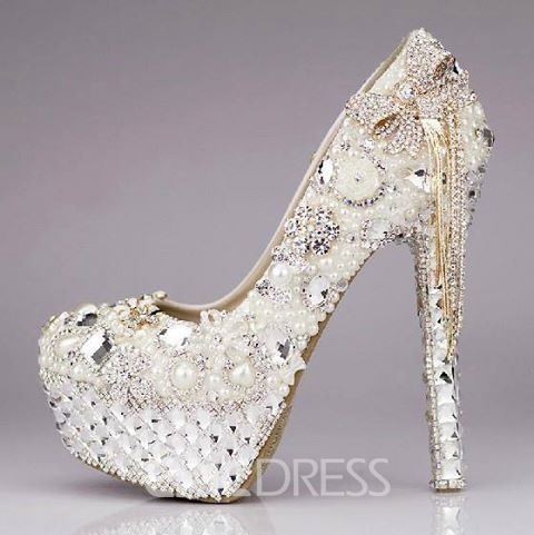 a4a09539c Luxury Sparkling Crystal Rhinestone Tassels Platform Ultra High Heels  Wedding Shoes(10767282)