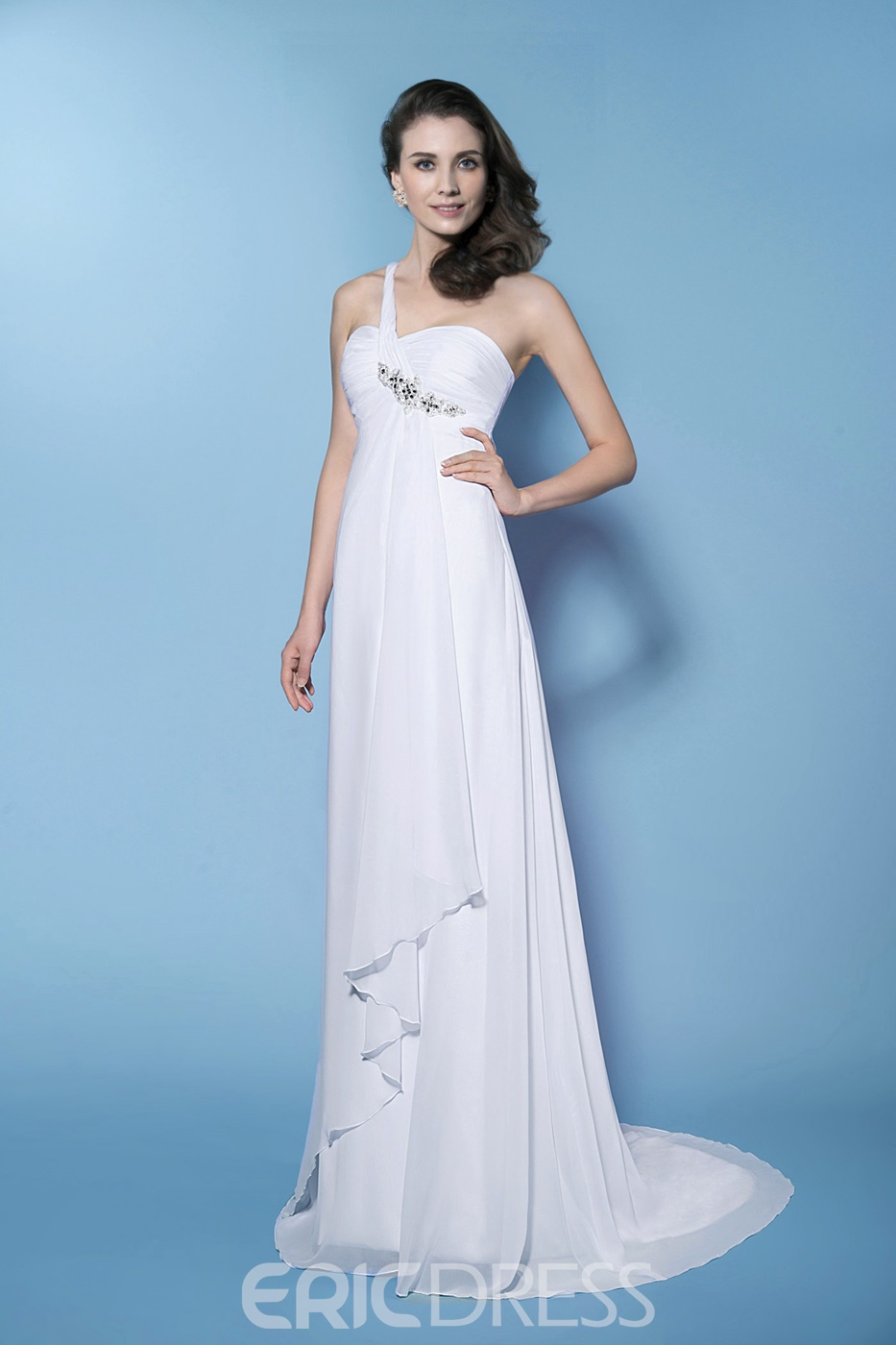 Fascinating Sheath/Column Empire Waistline One-Shouler Wedding Dress