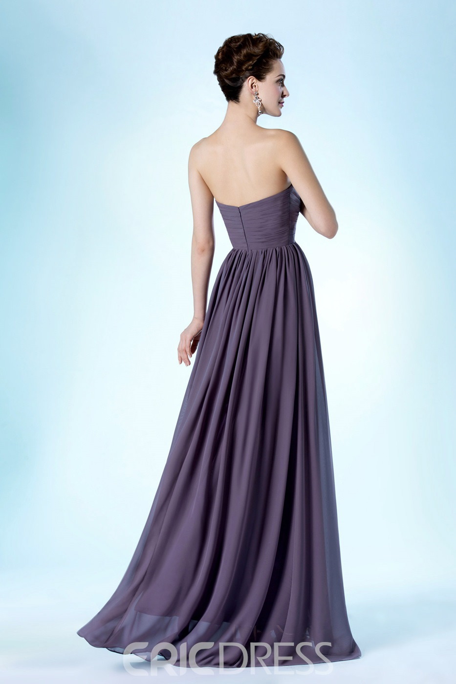 Elegant A-line Floor-Length Strapless Bridesmaid Dress