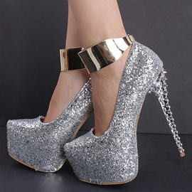 Silver Glitter Platform Ankle Strap Heels With Rivets