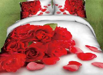 3D Red Rose and Heart Printed Cotton 4-Piece White Bedding Sets/Duvet Covers