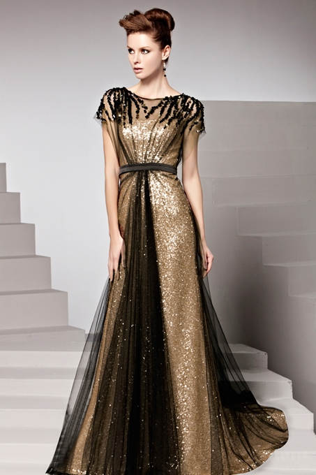 Ericdress Appliques Sequins Short Sleeves Prom Dress