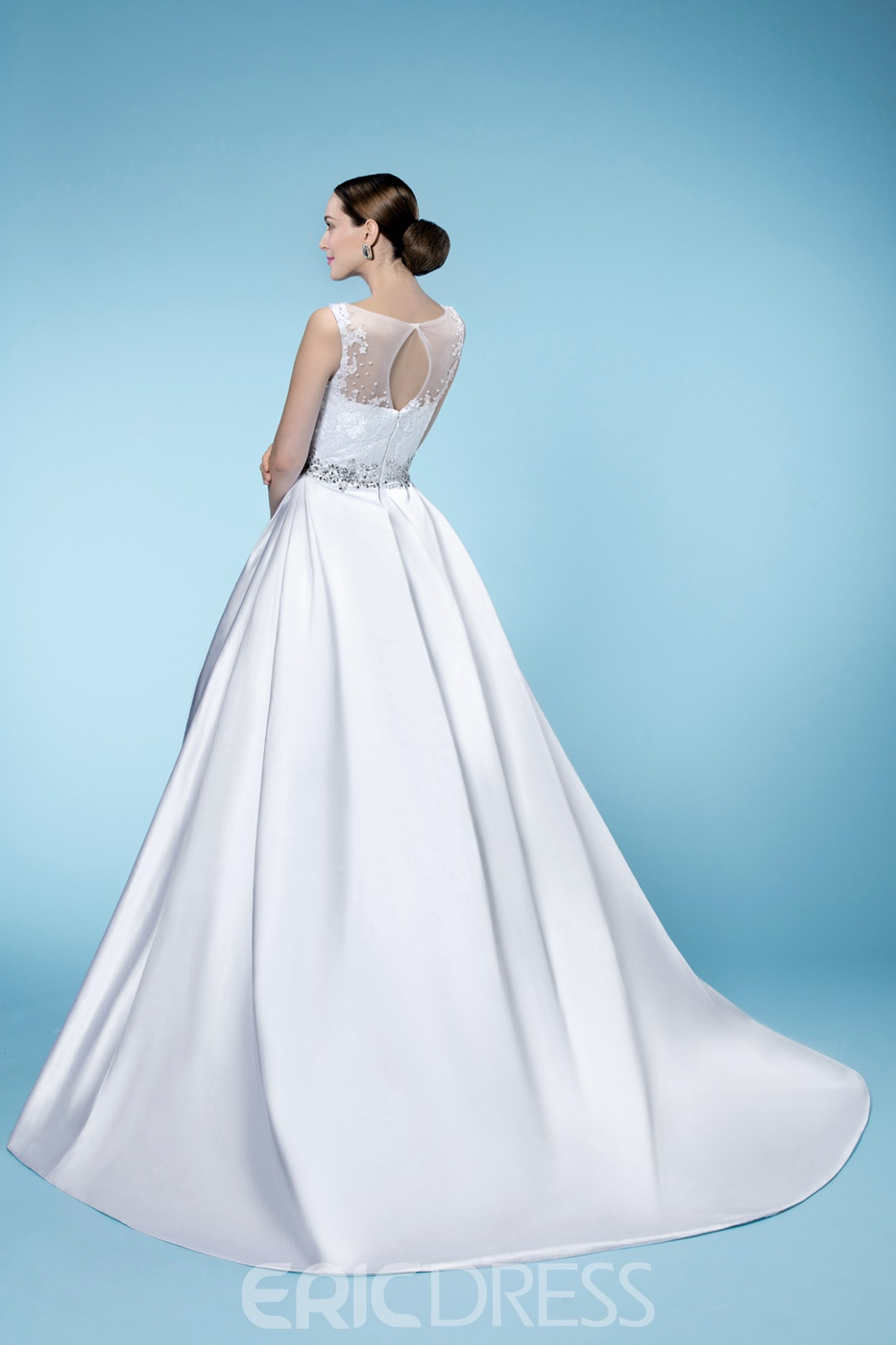 Stylish A-Line Beteau Neckline Beading Sweep Train Wedding Dress