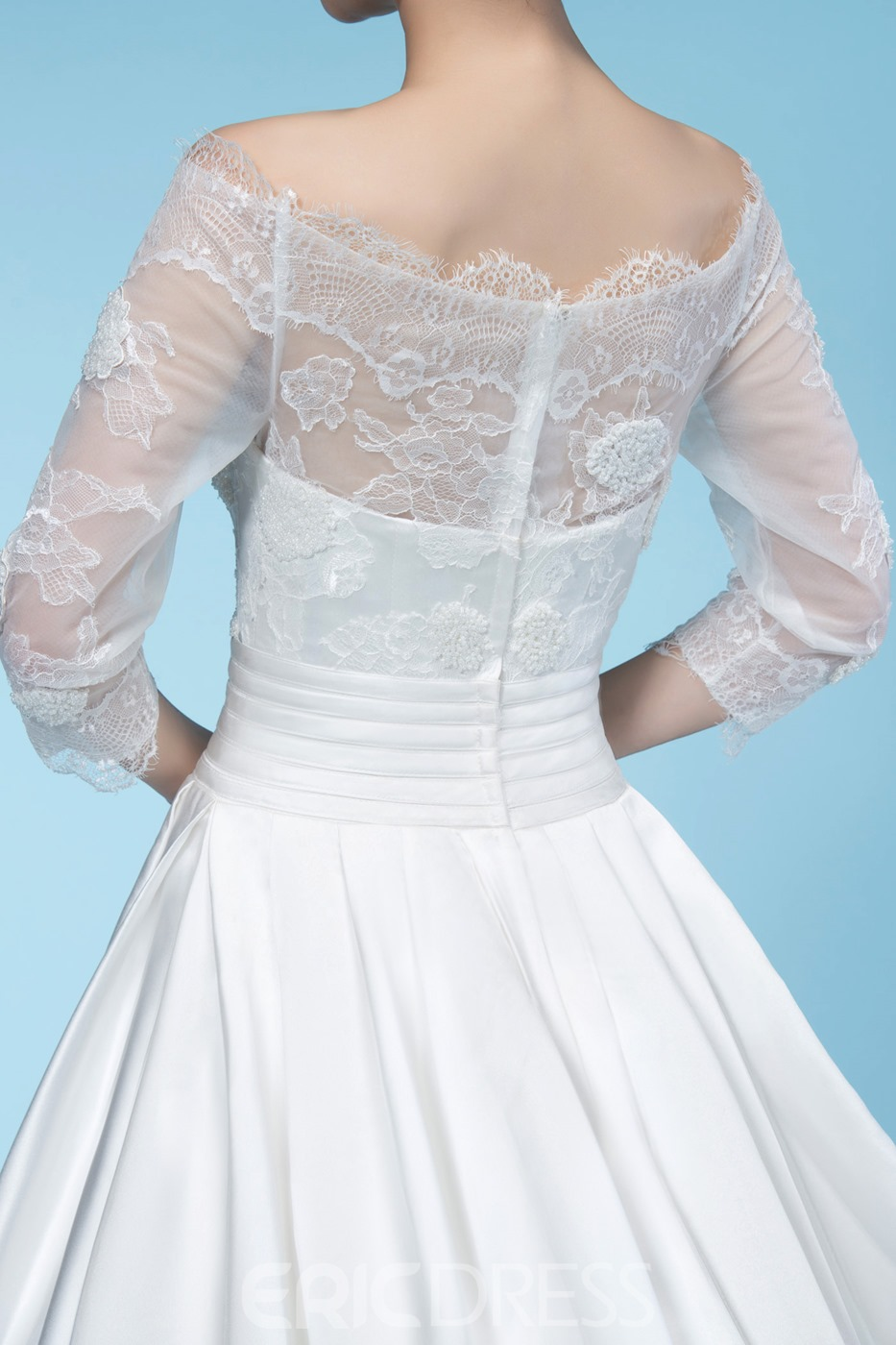 Junoesque Off-the-Shoulder 3/4 Length Sleeve Wedding Dress