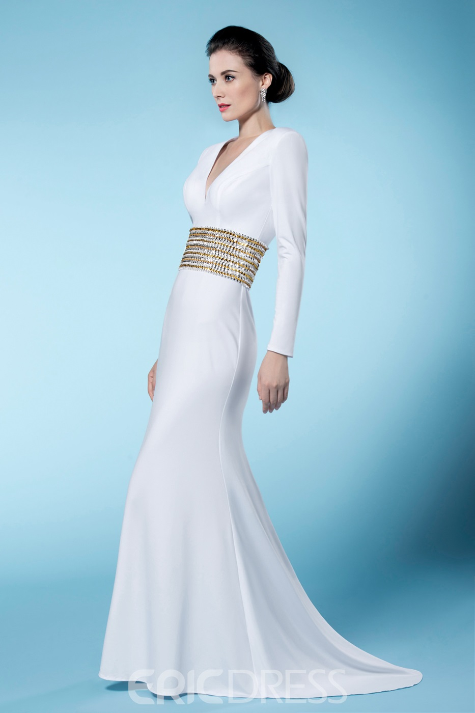 Classical Sheath Long Sleeves Sequined V Neck Mother of the Bride Dress