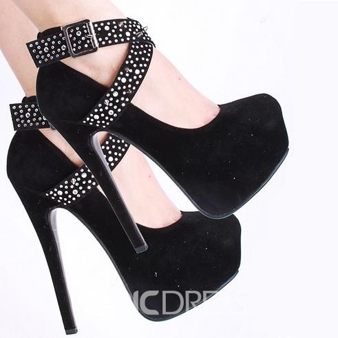 Black Faux Suede Rhinestone Spike Cross Straps Platform Stiletto Heels