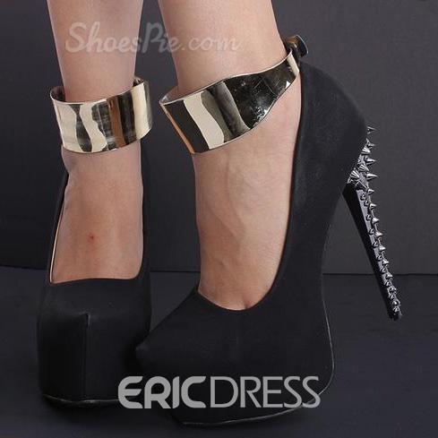 Ericdress Silver Glitter Platform Ankle Strap Heels With Rivets