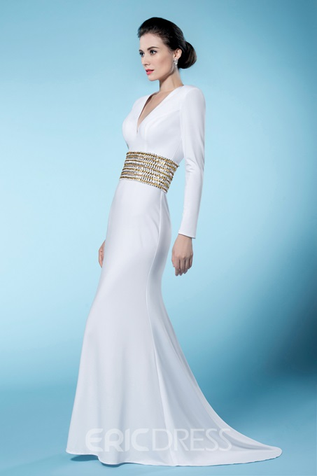 Sheath Long Sleeves V Neck Mother of the Bride Dress