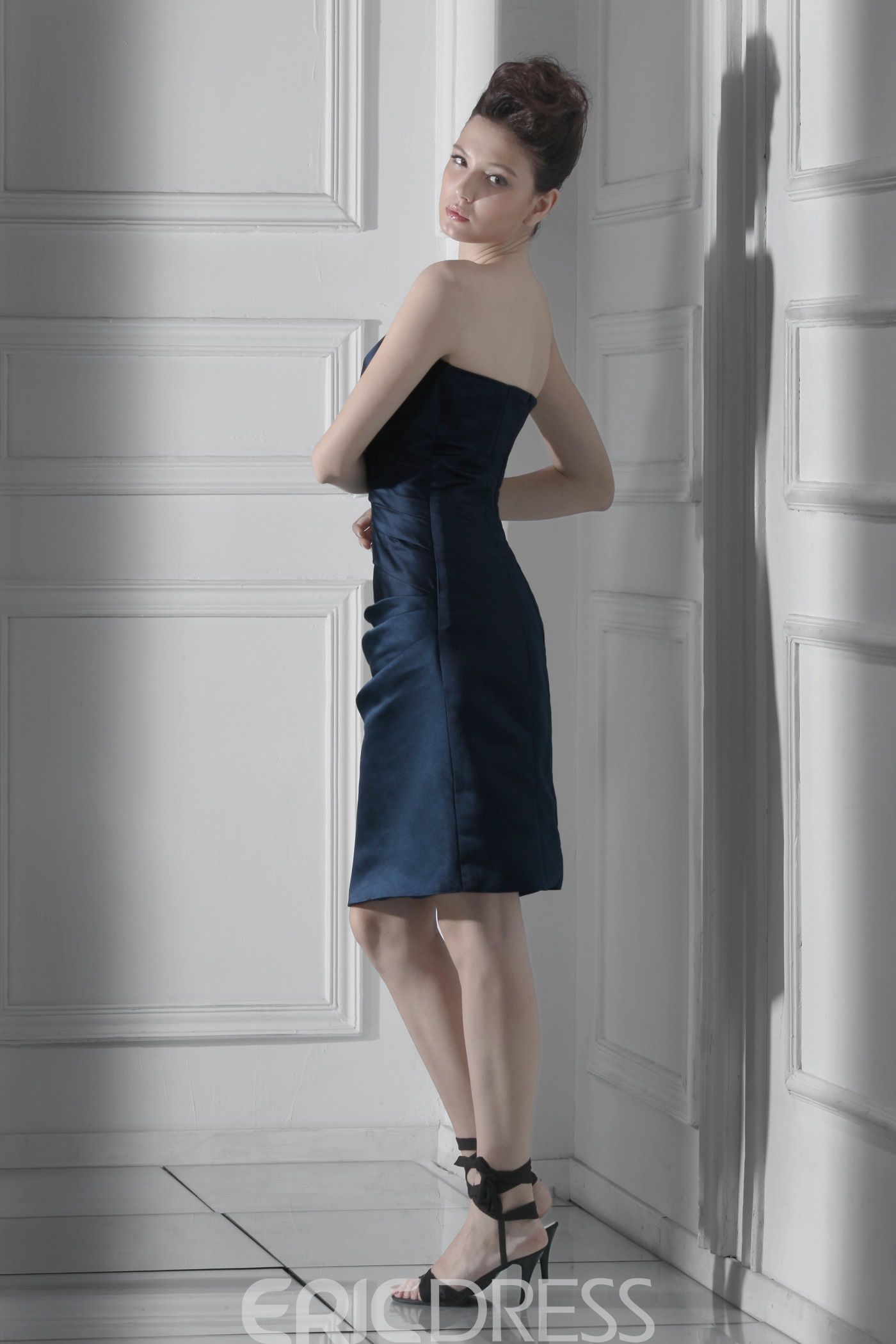 Unique Draped Sheath/Column Strapless Knee-length Alina's Mother of the Bride Dress With Jacket/Shawl