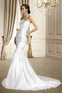 Special Trumpet/Mermaid Sleeveless Matte Satin Ruched Sweetheart Court Train Wedding Dress