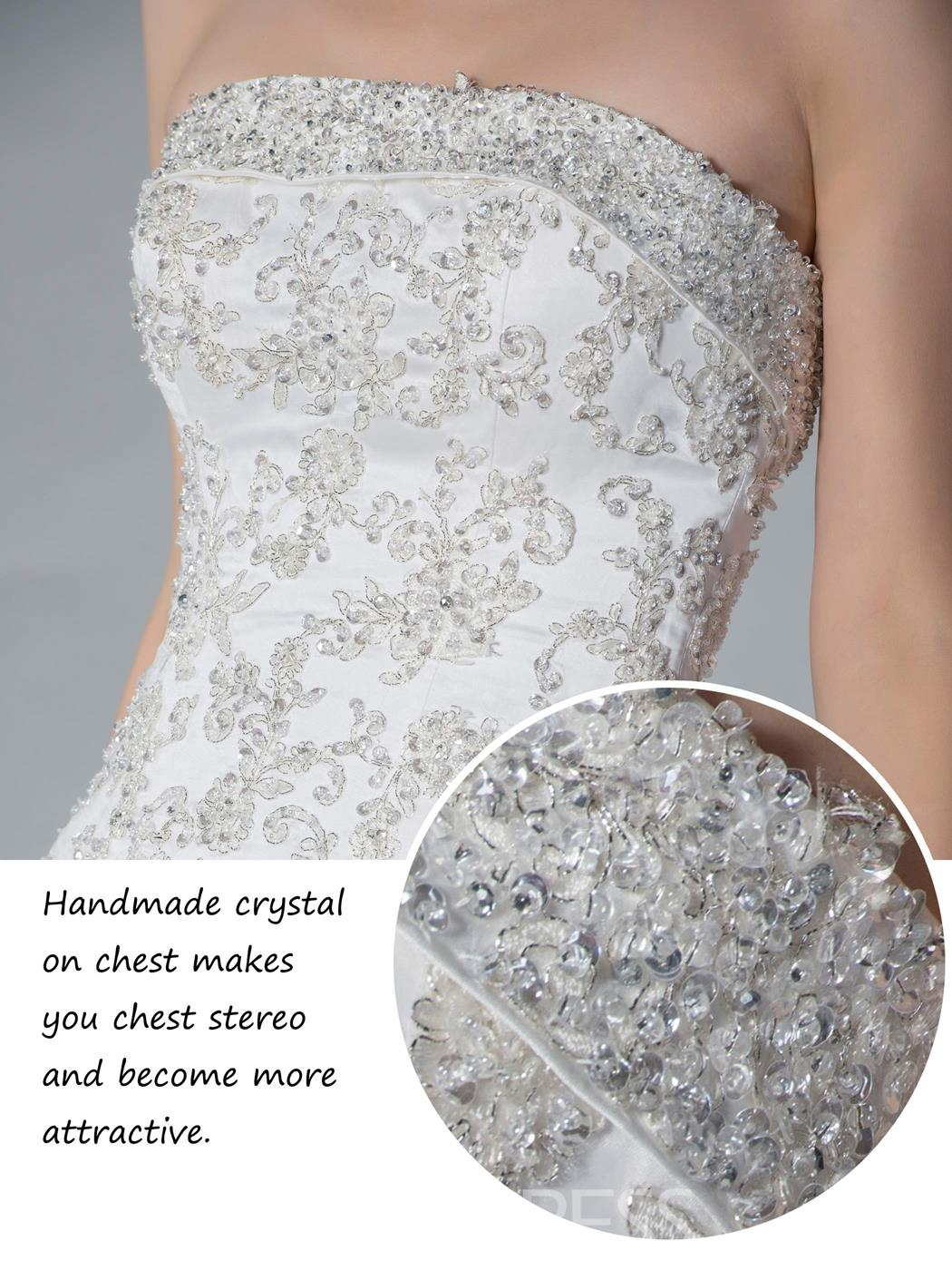 Perfect Strapless Beading Chapel Train Sleeveless A-line Wedding Dress