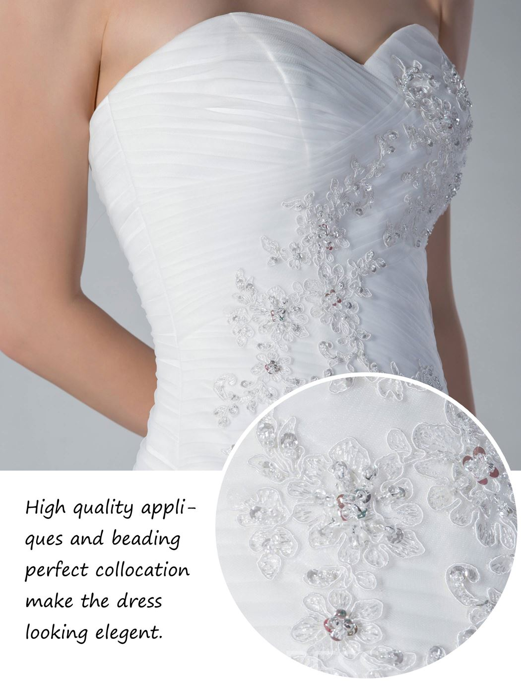 Fashionable Appliques&Sequins Tulle Strapless Sleeveless Wedding Dress