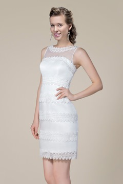 Ladylike Mini Sheath Appliques Scoop Sleeveless Wedding Dress
