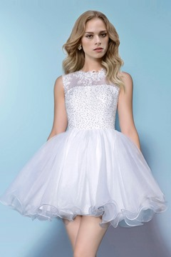 Sweet Beading Sleeveless Short/Mini A-Line Wedding Dress
