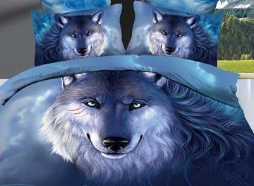 Vivilinen 3D Oil Painting Wolf Cotton 4-Piece Blue Bedding Sets/Duvet Covers