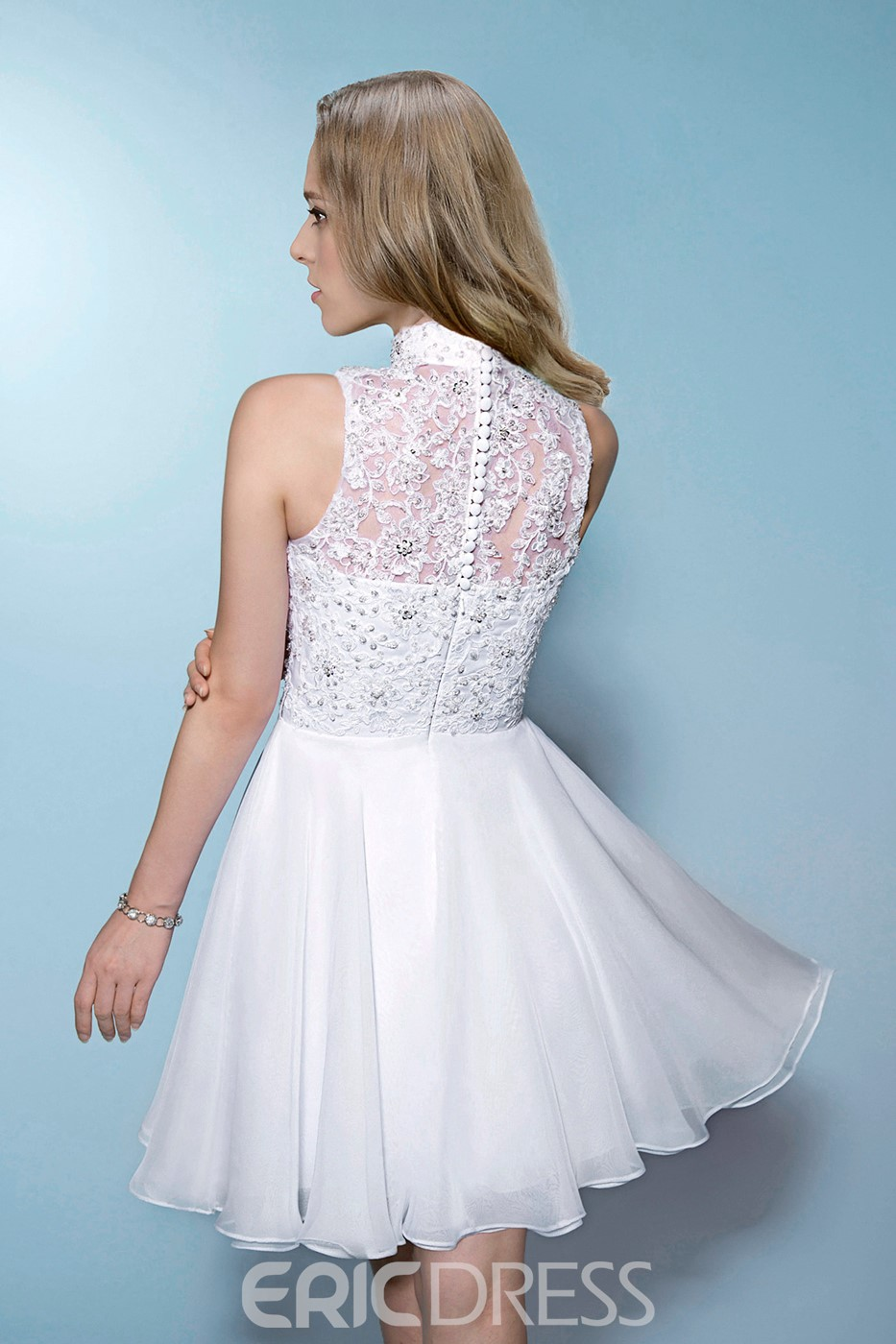 Comely Sleeveless High-Neck Beading Lace Zipper-Up Short/Mini Wedding Dress