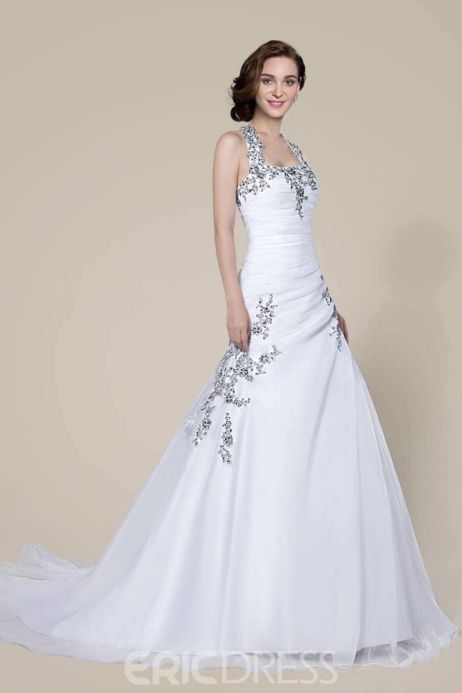 Fashion Halter Beading Lace-Up Court Wedding Dress
