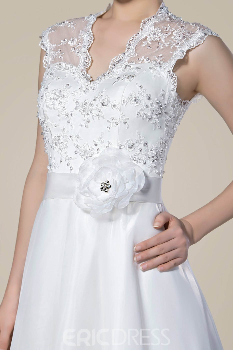 Fashion V-Neckline Lace Zipper-Up Floor Length Wedding Dress