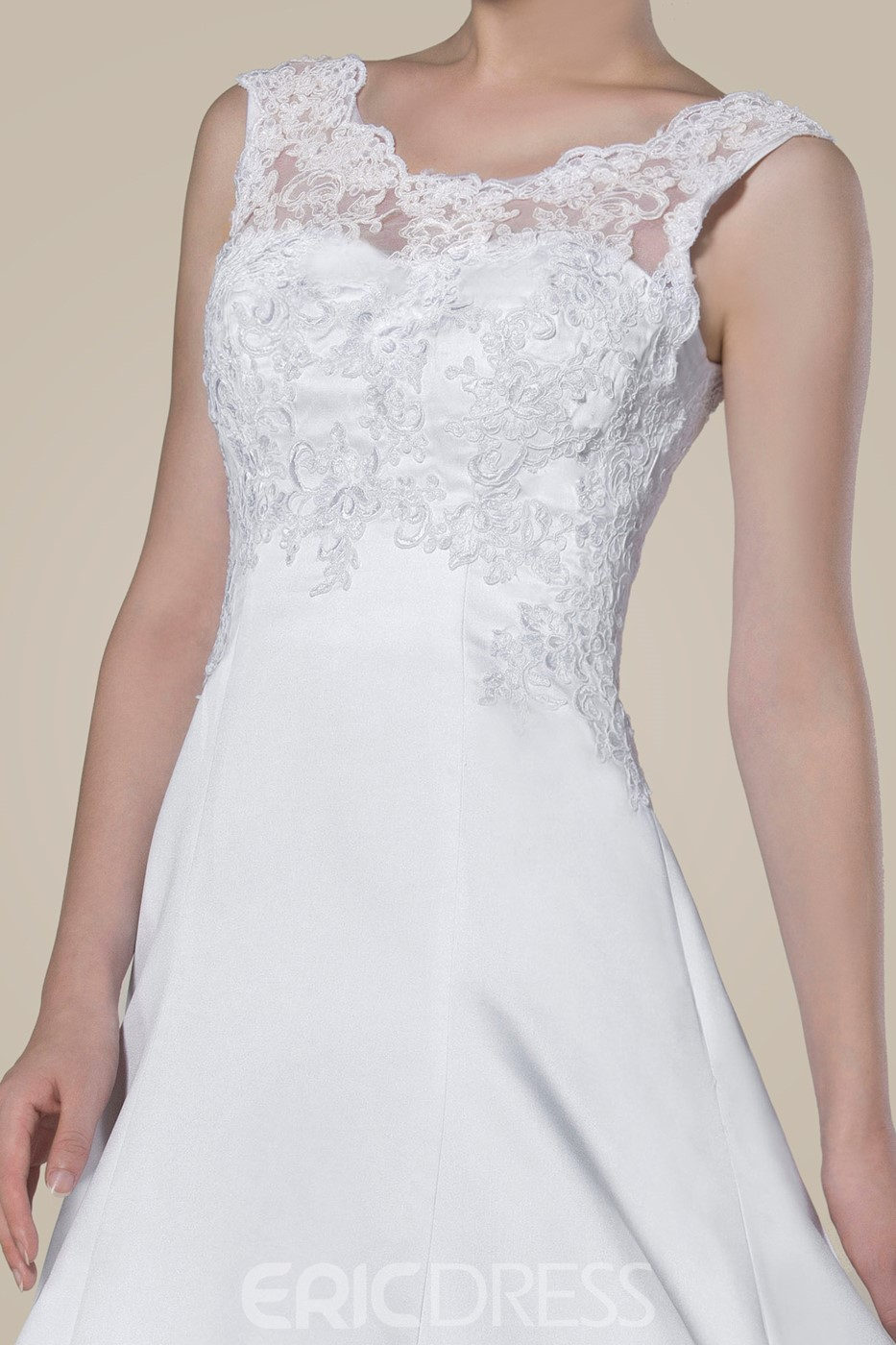 Fashion Concise Lace Sleeveless Chapel Train Wedding dress