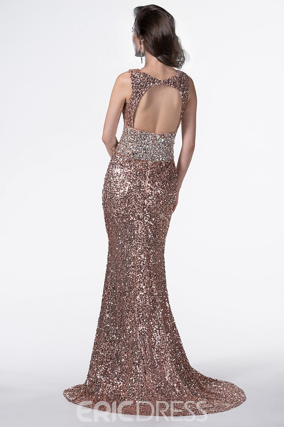 Shinning V-Neck Trumpet Beading Sequins Floor Length Evening Dress