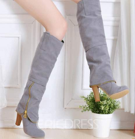 Korean Comfortable Side Zipper Knee High Boots