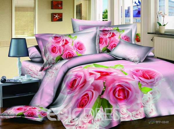3D Bunch of Pink Roses Printed Cotton 4-Piece Bedding Sets/Duvet Covers