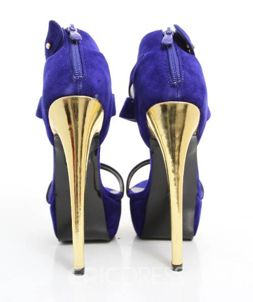 Glaring Blue Metal Ankle Strap High Heel Shoes