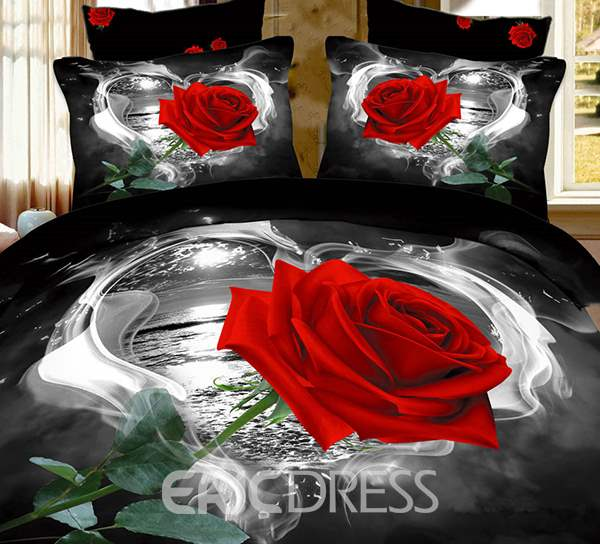 Vivilinen 3D Red Rose in Heart Shape Printed Cotton 4-Piece Black Bedding Sets