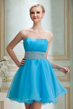Pretty Strapless Mini-Length A-Line Prom/Homecoming Dress