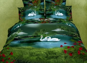 Amazing Green Swan Lake Paint Print With Red Flowers 4 Piece Bedding Sets