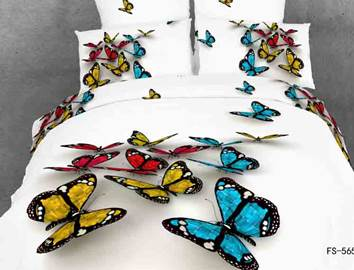 Vivilinen 3D Colorful Butterflies Cotton 4-Piece White Bedding Sets/Duvet Covers