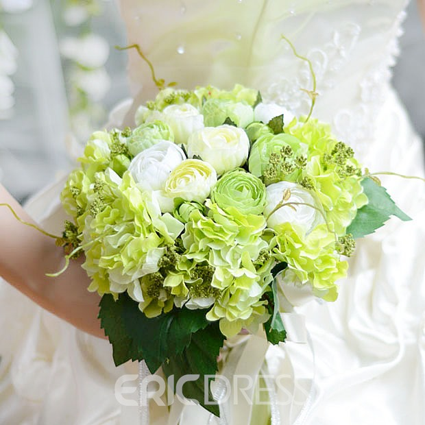 Glamorous Sphere Shaped Green Cloth Wedding Bridal Bouquet with White Ribbon