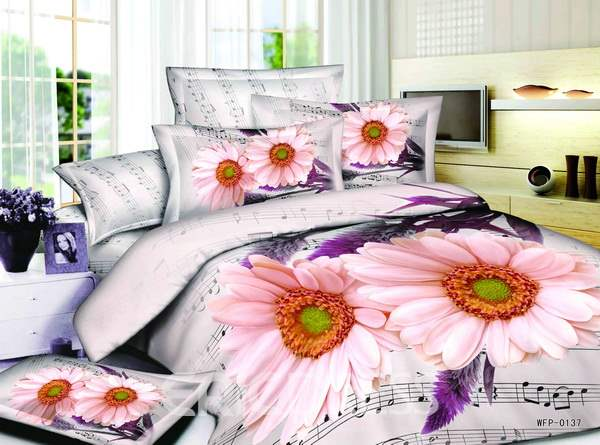 3D Coneflower and Rhythm Printed Cotton 4-Piece Bedding Sets/Duvet Covers