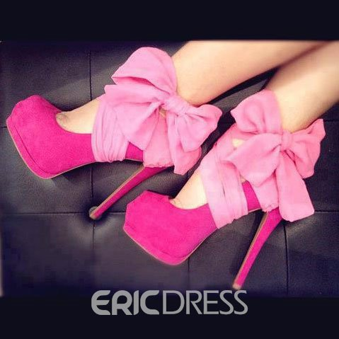 able Rose Suede Platform Side Bowtie High Heel Prom Shoes