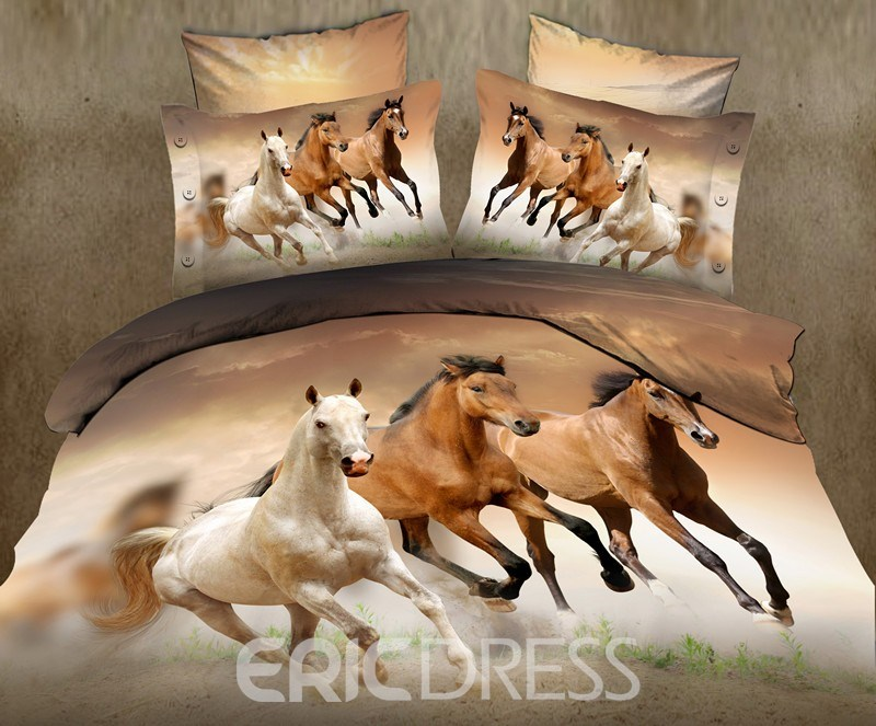 ericdress galloping horse print 4-piece cotton 3d bedding sets