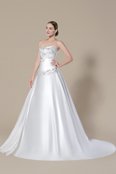 Fancy Strapless Sweetheart Applique Court Train A-Line Wedding Dress
