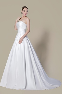 High-quality Ruched Matte Satin Zipper-up Strapless Wedding Dress