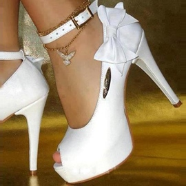 Ericdress White PU Peep Toe Bowtie High Heel Prom Shoes