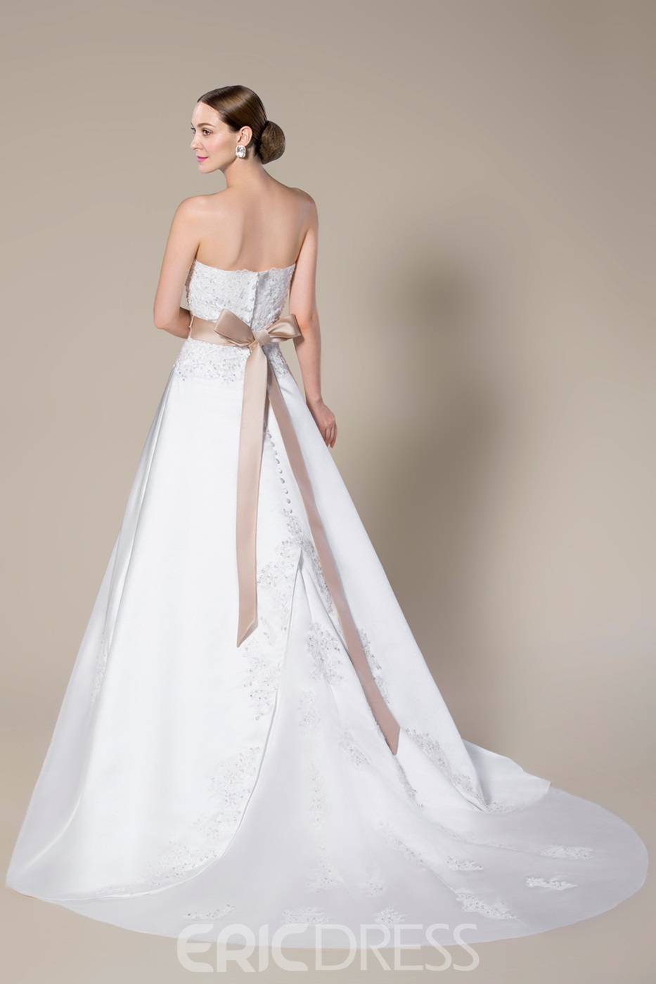 Pretty Strapless Beading Zipper-Up Sweep Train A-Line Wedding Dress With Jacket/Shawl