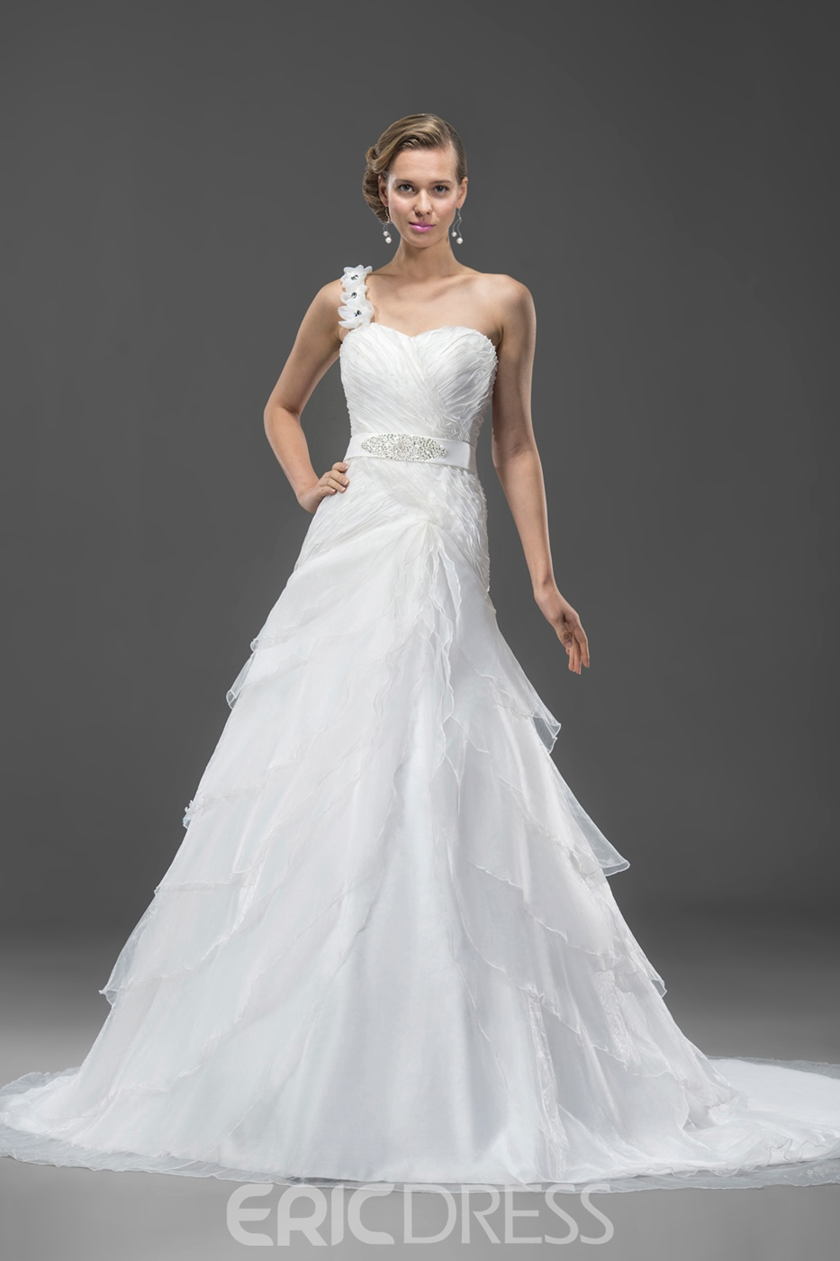 Pretty A-line Organza Sashes/Ribbons One-Shoulder Chapel Train Wedding Dress