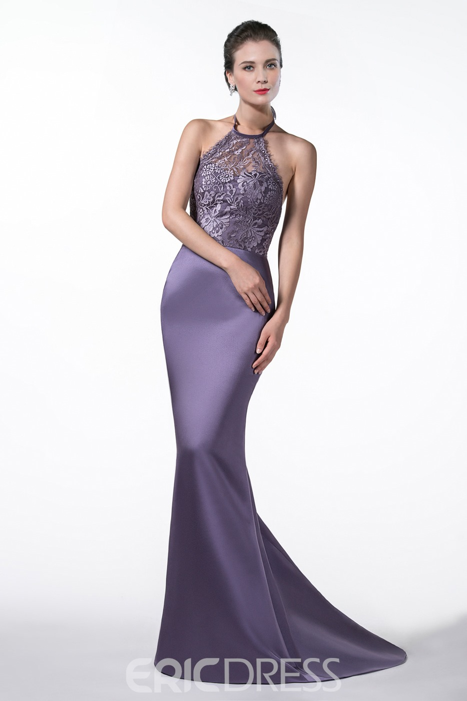 Beautiful Halter Trumpet/Mermaid Appliques Court Train Evening Dress
