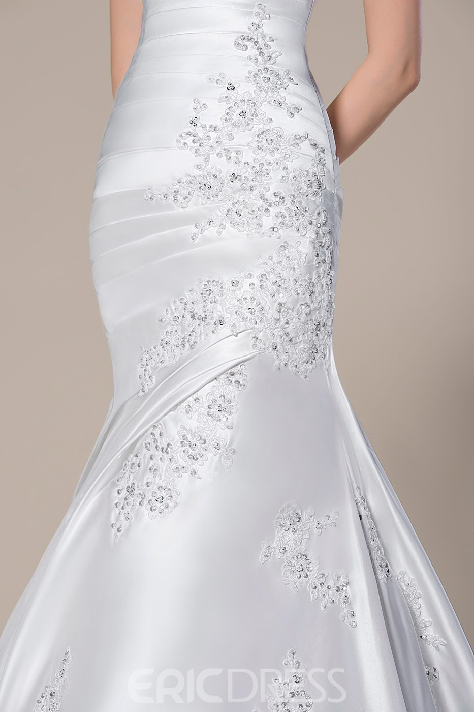 Charming Strapless Trumpet/Mermaid Beading Applique Wedding Dress