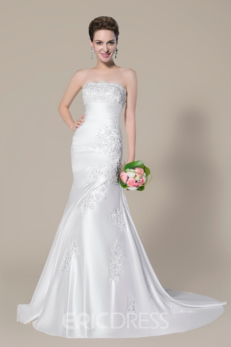 Ericdress Strapless Mermaid Beading Applique Wedding Dress