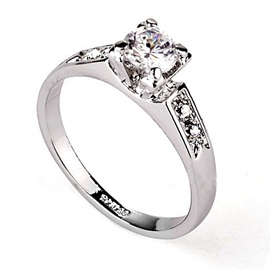 Simple Delicate with Full Silver Rhinestone Top Quality Ladys Ring